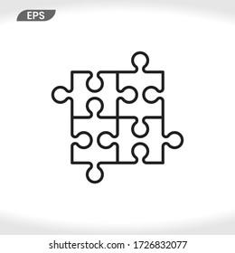 Puzzle icon vector . Piece sign
