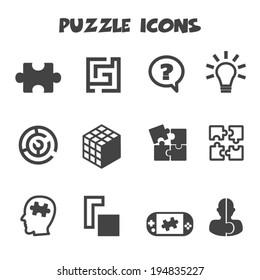 puzzle icons, mono vector symbols