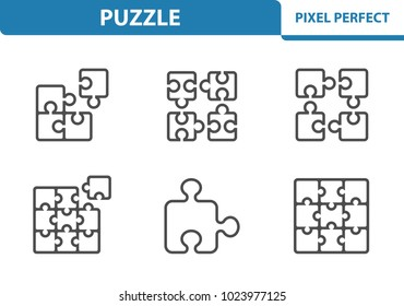 Puzzle Icons. Professional, pixel perfect icons optimized for both large and small resolutions. EPS 8 format. 3x size for preview.