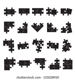 Puzzle Icons Set - Isolated On White Background, Vector Illustration, Graphic Design Editable For Your Design.