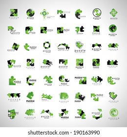 Puzzle Icons Set - Isolated On Gray Background, Vector Illustration, Graphic Design Editable For Your Design