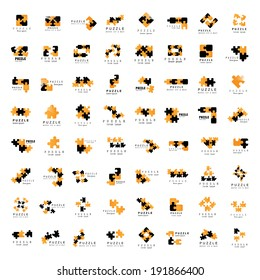 Puzzle Icons Set - Isolated On White Background, Vector Illustration, Graphic Design Editable For Your Design