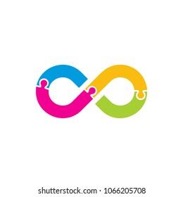 Puzzle Infinity Logo Icon Design