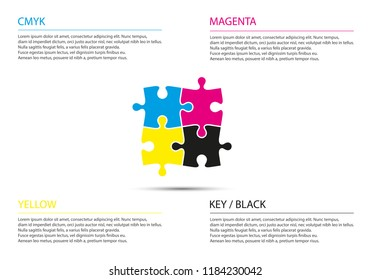 Puzzle infographic business concept with cmyk colors, four puzzle pieces connected to each other, modern simple vector illustration
