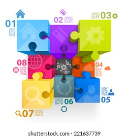 Puzzle infographics profile. Vector illustration