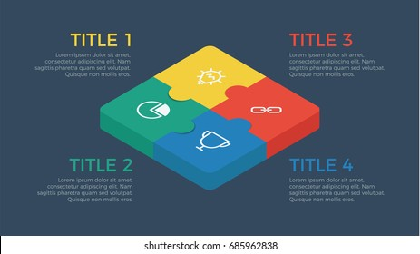 puzzle isometric infographic element vector with four number options, can be used for step, workflow, diagram, banner, process, business presentation template, price list, timeline, dark theme