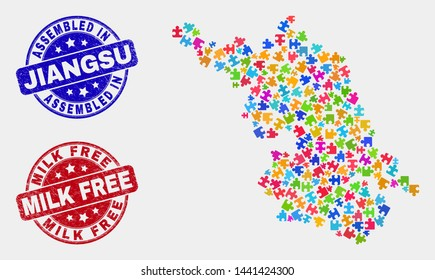Puzzle Jiangsu Province map and blue Assembled seal stamp, and Milk Free distress seal stamp. Colorful vector Jiangsu Province map mosaic of puzzle. Red round Milk Free rubber.