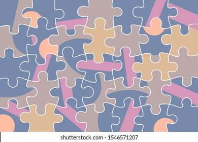 Puzzle and jigsaw mismatch - random incorrect pieces fit together - randomness, confusion, mess, disorder, disarray and chaos. Vector illustration