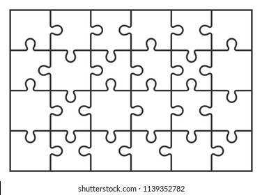 puzzle jigsaw set of 24 pieces, vector illustration