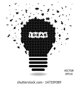 puzzle Light bulb , idea concept ,vector