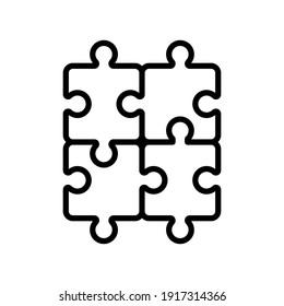puzzle line  icon design vector template