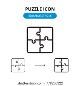 Puzzle line icon with editable stroke. Vector symbol