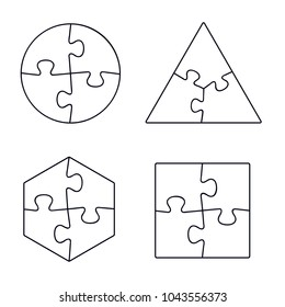 Puzzle line icons collection, vector isolated outline set illustration.