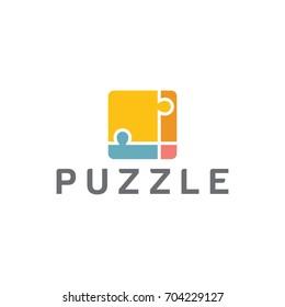 puzzle logo stylized creative design template
