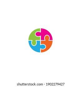 Puzzle logo vector design illustration template