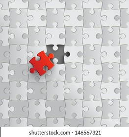 Puzzle with missing piece. Vector.