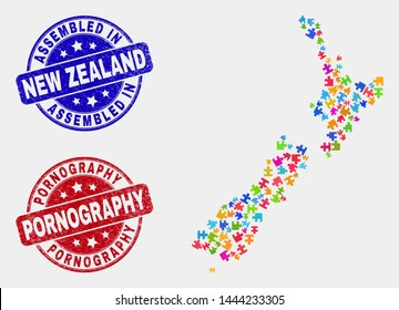 Puzzle New Zealand map and blue Assembled seal stamp, and Pornography distress seal. Bright vector New Zealand map mosaic of plugin components. Red round Pornography seal.