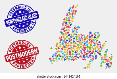 Puzzle Newfoundland Island map and blue Assembled seal stamp, and Postmodern grunge seal. Colorful vector Newfoundland Island map mosaic of puzzle bricks. Red rounded Postmodern rubber.