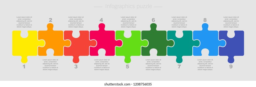 Puzzle Nine Pieces Parts for Business Presentation. Line Infographics. 9 Steps Process Line Card. Section Compare Service Banner or Background. Puzzle Infographics.