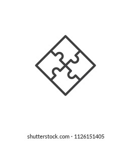 Puzzle outline icon. linear style sign for mobile concept and web design. Jigsaw simple line vector icon. Plugin symbol, logo illustration. Pixel perfect vector graphics