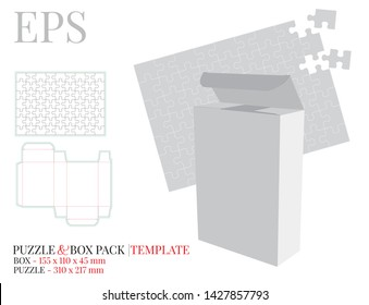 Puzzle and pack holder template, vector with die cut / laser cut lines. White, clear, blank, isolated puzzle and pack holder mock up on white background with perspective view. Packaging design