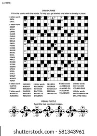 Puzzle page with criss-cross word game (English language) and visual puzzle. Black and white, A4 or letter sized.