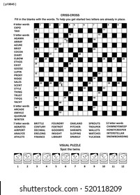Puzzle page with two puzzles: 19x19 criss-cross word game (English language) and visual puzzle with whimsical faces. Black and white, A4 or letter sized. Answers are on separate file named p19646.