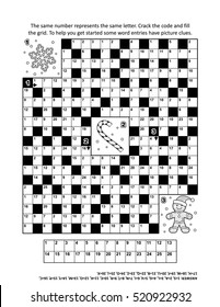 Puzzle page with winter holiday themed codebreaker (or codeword, or code cracker) word game. Answer included.
