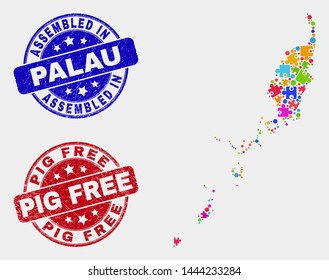 Puzzle Palau map and blue Assembled seal stamp, and Pig Free scratched seal stamp. Colored vector Palau map mosaic of bundle components. Red round Pig Free seal.
