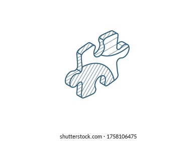 puzzle part, jigsaw piece, solution isometric icon. 3d vector illustration. Isolated line art technical drawing. Editable stroke