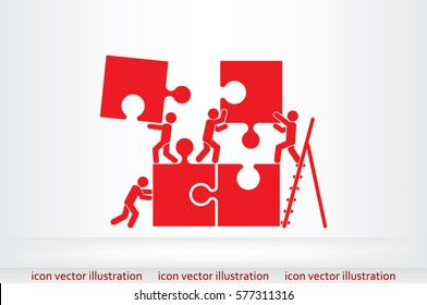 puzzle and people icon vector illustration.