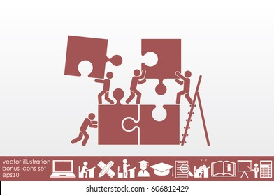 puzzle and people icon vector illustration eps10.