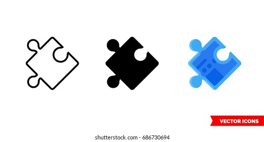 Puzzle piece icon of 3 types: color, black and white, outline. Isolated vector sign symbol.