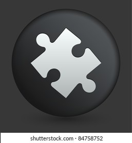 Puzzle Piece Icon on Round Black Button Collection Original Illustration