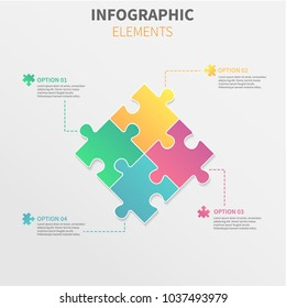 Puzzle piece infographics business with four option