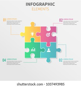 Puzzle piece infographics business with four option. Template for brochure, business, web design