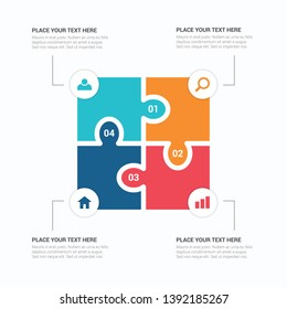 Puzzle piece infographics business with four option. 4 step process diagram. Four section compare banner. Template for brochure, business, web design, EPS10