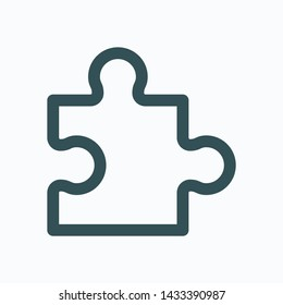 Puzzle piece isolated icon, web solution outline icon, puzzle games linear vector icon