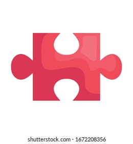 puzzle piece red pink isolated icon vector illustration design
