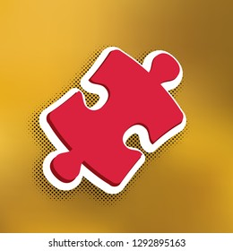 Puzzle piece sign. Vector. Magenta icon with darker shadow, white sticker and black popart shadow on golden background.