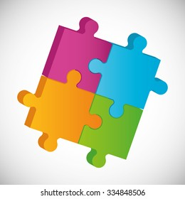 Puzzle pieces and big ideas design, vector illustration graphic