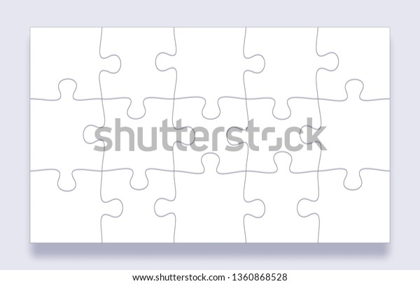 Puzzle Pieces Grid Jigsaw Tiles Mind Stock Vector (Royalty