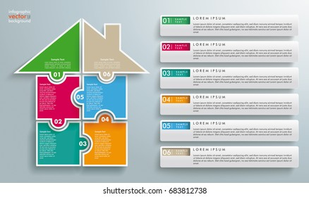 Puzzle pieces house with 6 tabs on the gray background. Eps 10 vector file.