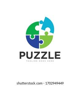 Puzzle Pieces Logo Design Vector