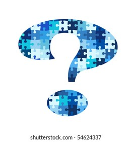 Puzzle question mark in blue colors