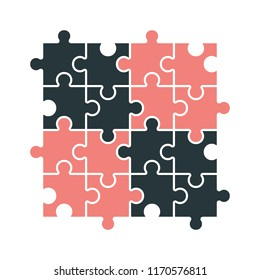 Puzzle set with modern colors isolated on white. Jigsaw icon for business solutions, teamwork or autism.