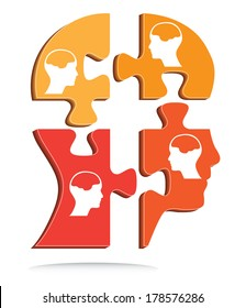 Puzzle shaped head vector with little heads and brains, creative vector design.