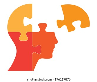 Puzzle shaped human head vector illustration. Raster available in my portfolio.