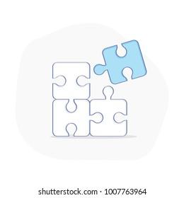 Puzzle, simple successful solutions concept, completing, cooperation, compatibility line icon, assemble puzzle pieces, solving problem. Flat outline vector concept.