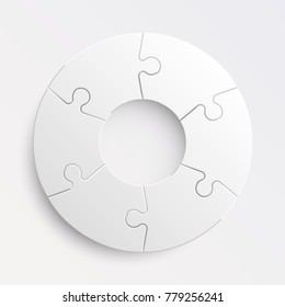 Puzzle six piece business round presentation. Circle puzzles infograph. Section compare banner background. 6 puzzle step round process diagram. Vector business infographic banner